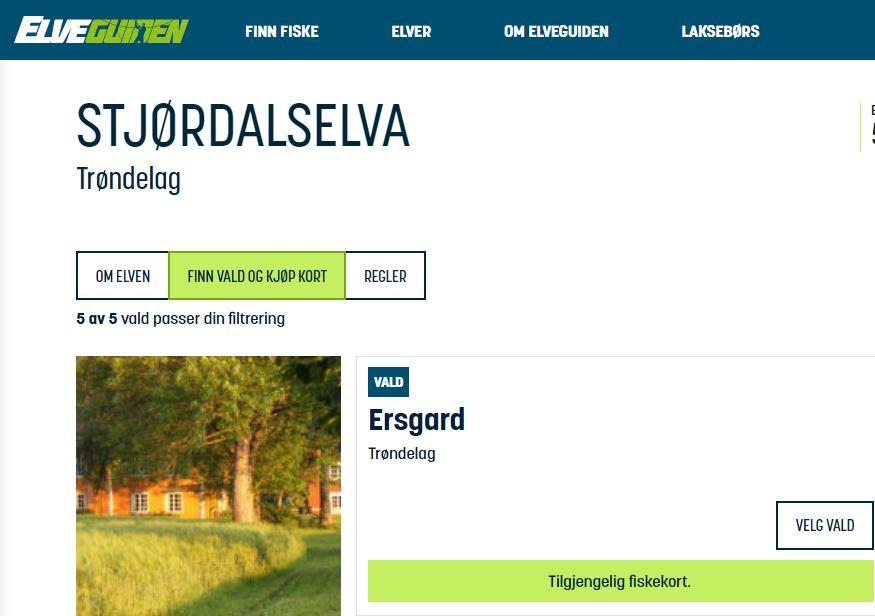 Booking av Døgnkort Hos Ersgard - Drømmer du om å få en storlaks på kroken?Vi på Ersgard har åpent laksefiske for både lokale og tilreisende. Det er mulig å fiske en dag eller to eller tre… Valdet vårt er på ca. 1 km på sørsiden av Stjørdalselva. Kun 7 minutter i bil fra Trondheim Lufthavn Værnes.Er dere en gruppe og ønsker å kombinere fiske med overnatting og servering, ta kontakt med oss på post@ersgard.no for tilbud.Våre døgnkort er nå tilgjengelig i Elveguiden.