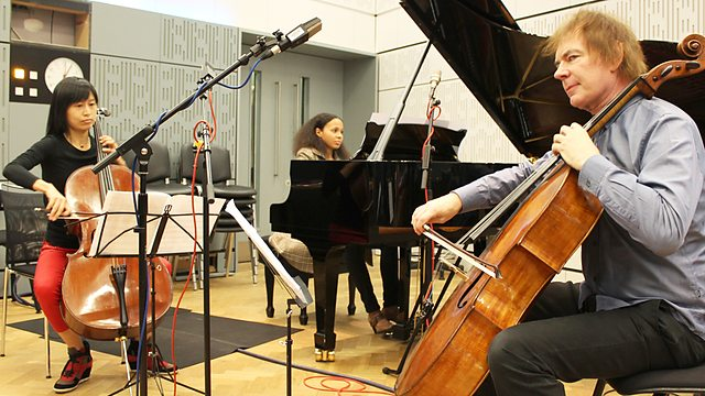 Rebeca Omordia with Julian and Jiaxin Lloyd Webber during a live broadcast on BBC Radio 3