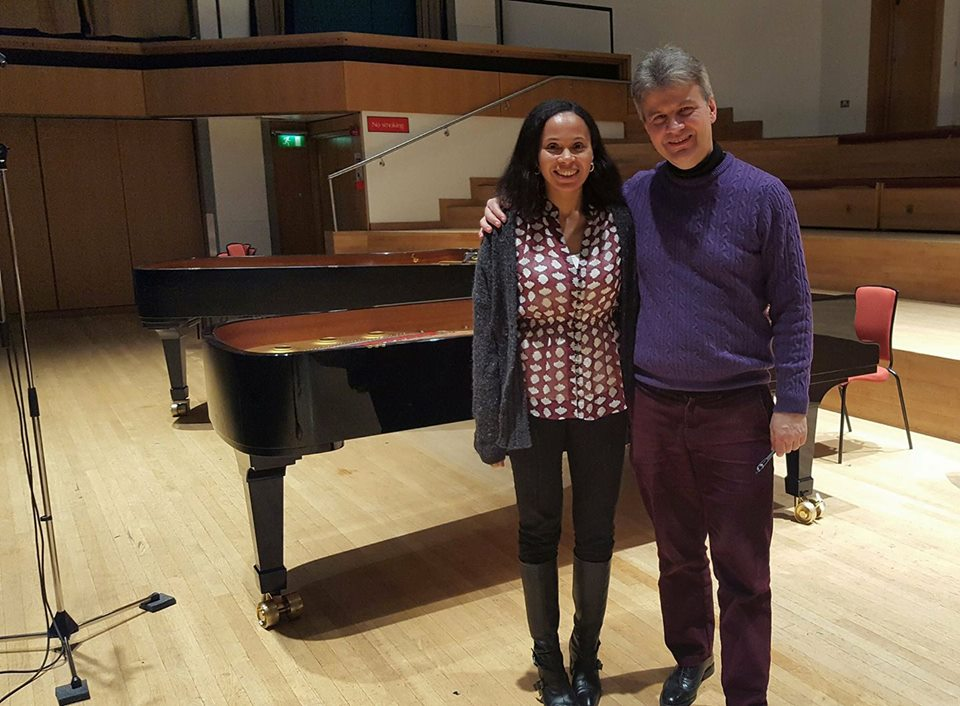 Rebeca Omordia & Mark Bebbington during recording session at Adrian Boult Hall, Birmingham