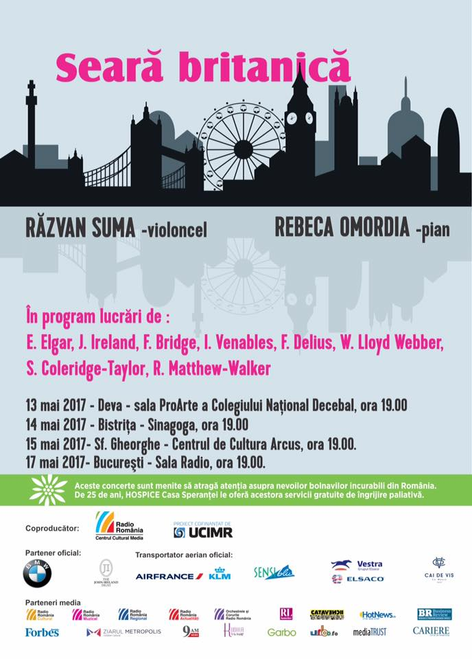 13-17 MAY 2017ROMANIA TOUR - Pianist Rebeca Omordia and cellist Razvan Suma will be touring Romania in May 2017 with an all British music programme featuring John Ireland's Cello Sonata. Their performances will include a live broadcast from the Radio Hall in Bucharest on 17th May.Read press release here