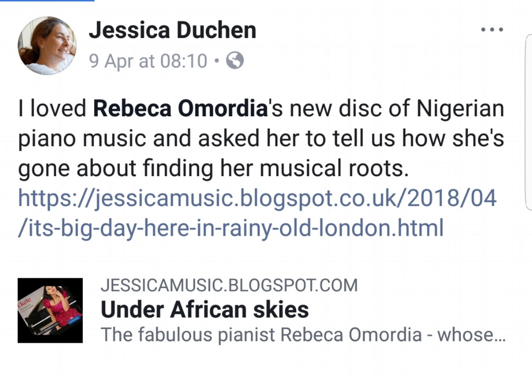 Jessica Duchen: Under African Skies