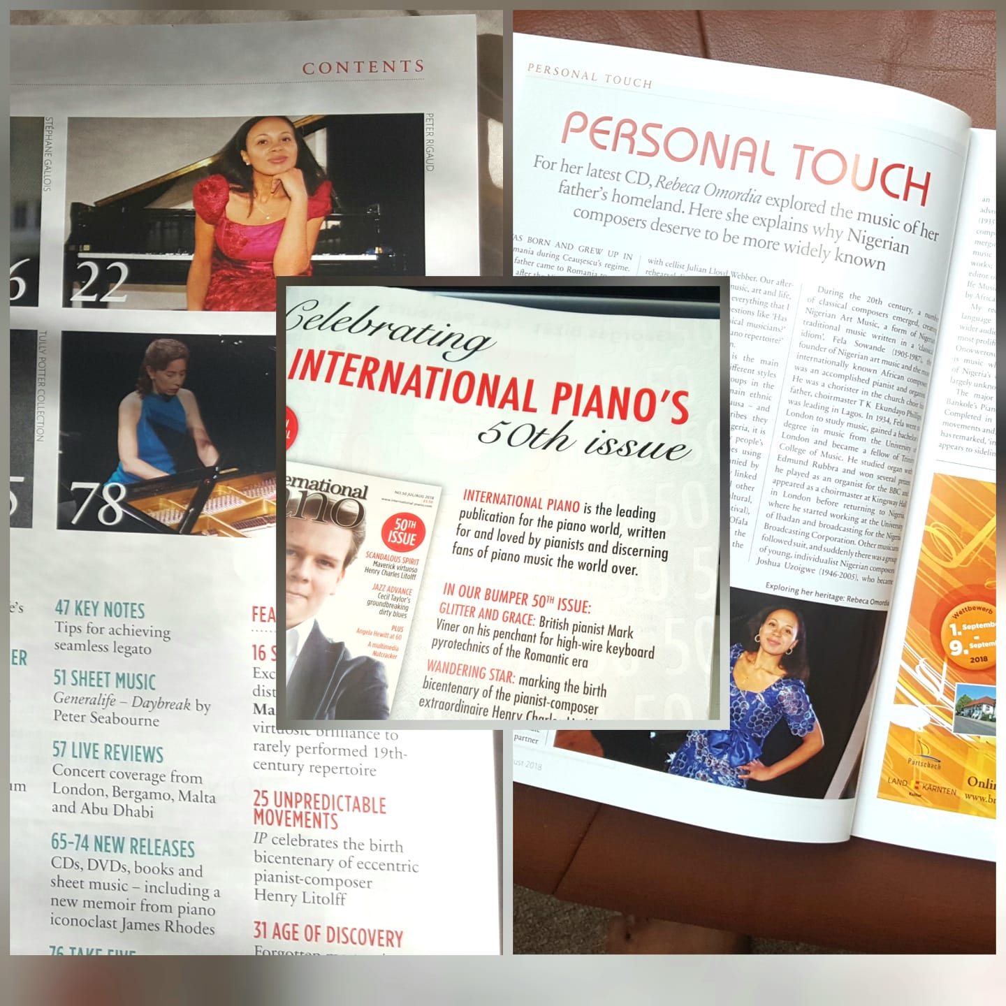 International Piano Magazine - Rebeca's new album of African piano music is featured in the 50th anniversary issue of the International Piano Magazine