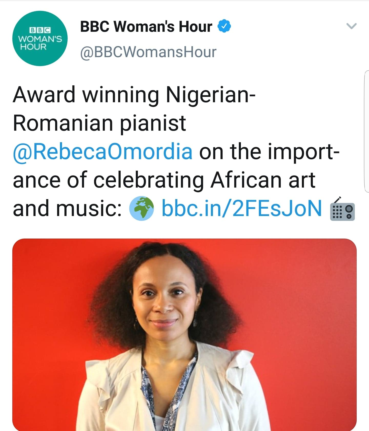 Rebeca performs and discusses African Art Music on BBC Radio 4 Woman's Hour -
