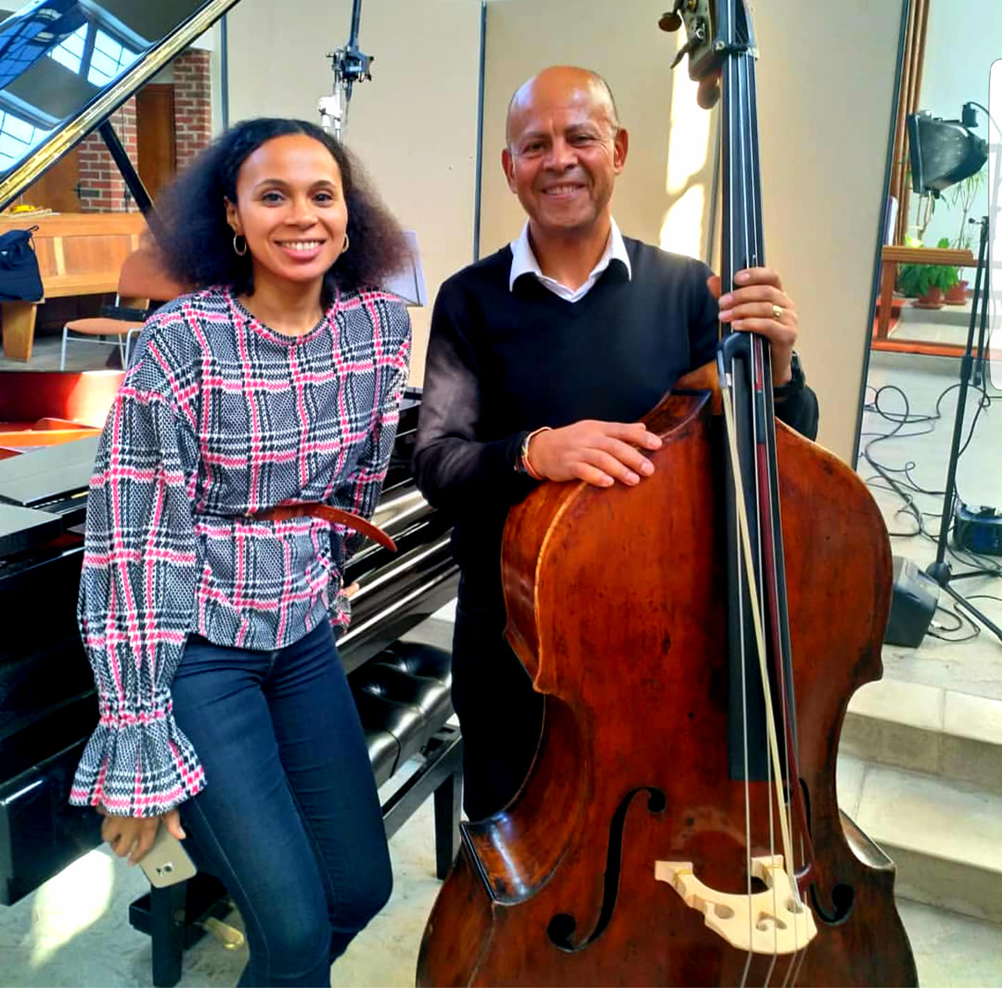 "Rebeca Omordia & double bass virtuoso Leon Bosch at the end of their recording session, "" The 21st Century British Double Bass""  for Meridian Records"