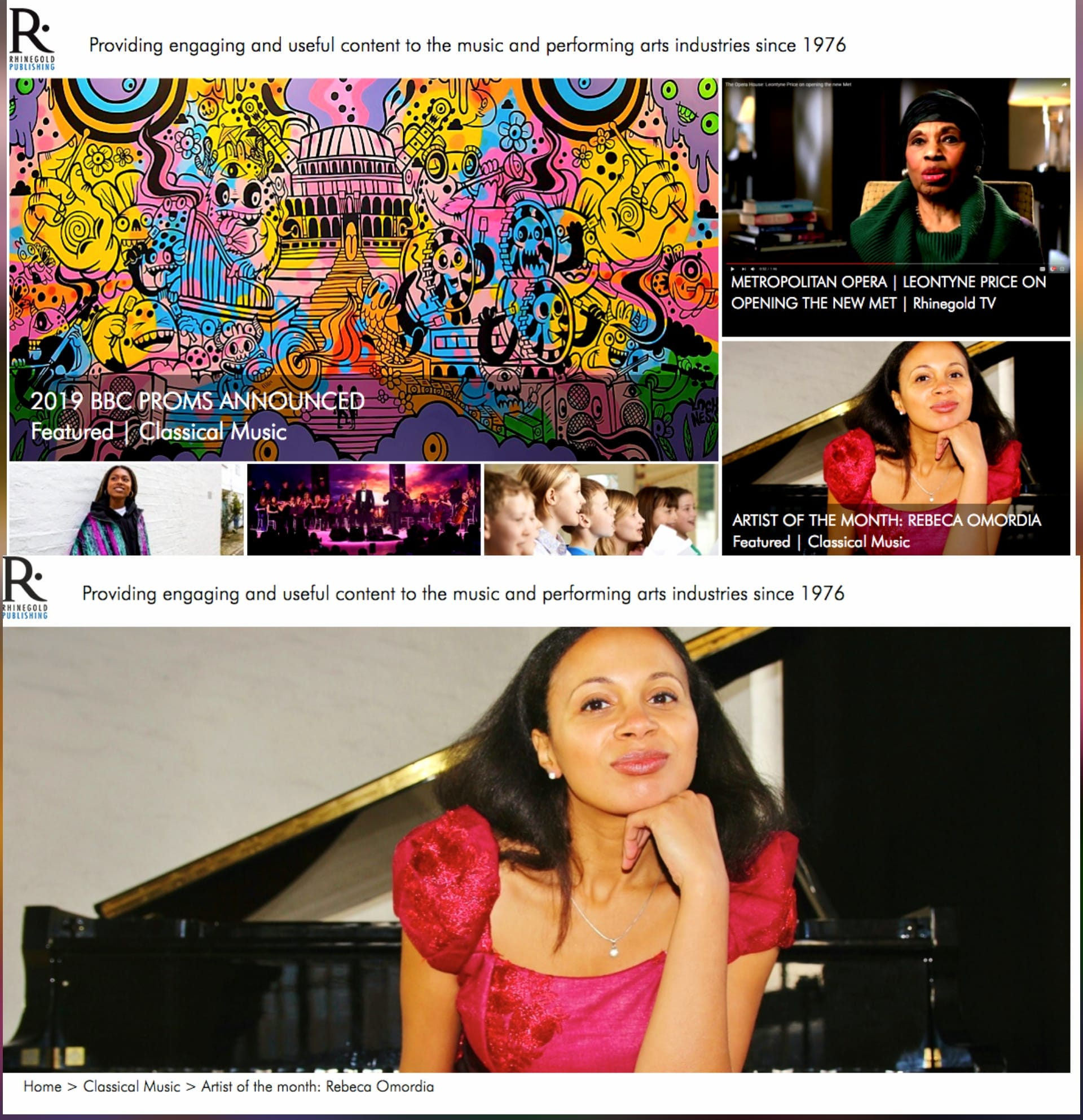 ARTIST OF THE MONTH, Classical Music Magazine, May 2019 - Rebeca is featured as ARTIST OF THE MONTH in the May 2019 issue of Classical Music Magazine. You can read the full interview here