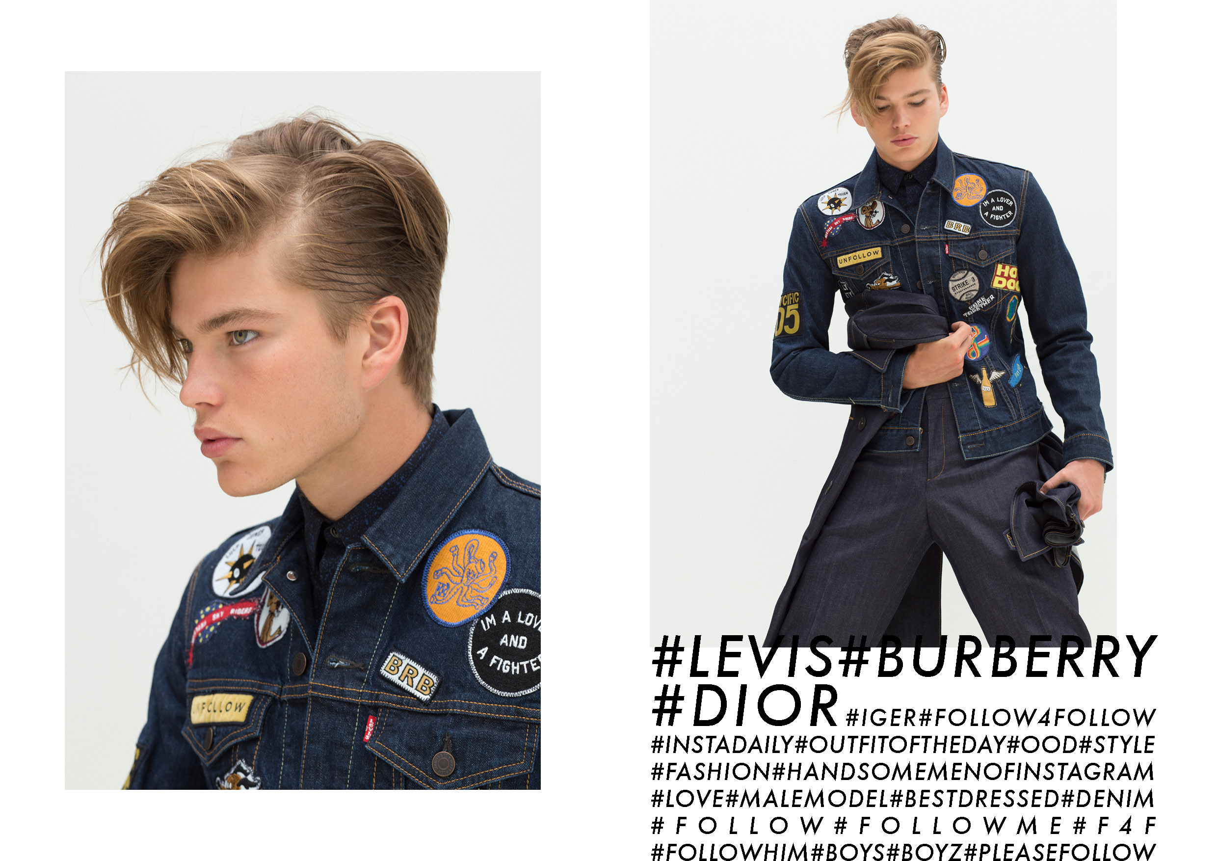 Jordan Wears   Levis   Denim Jacket with Patches ,   Dior Homme   shirt (Left To Right )                    Jordan wears   Levi's   jacket . Dior Homme shirt ,   Burberry Prorsum   denim trousers,    Burberry Prorsum   trenchcoat (worn around waist)