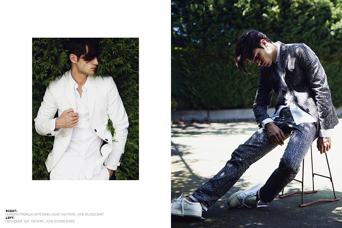 Right –  Burberry Prosum   white denim jacket and Pants,  Acne Studios   shirt    Left –  Dior Homme  Suit and Shirt,  Acne Studios shoes