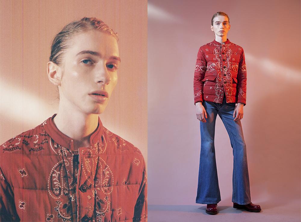 Lewi wears   Burberry Prorsum   coat,  Acne Studios  denim flares,    Gucci  shoes