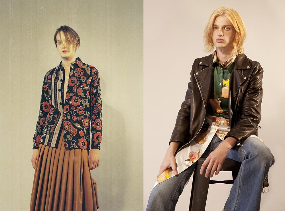 (left to right) Alex Thorn wears   Burberry Prorsum  coat,  Acne Studios  skirt     Jimmy wears   Acne studios l eather jacket,  Acne Studios  silk print dress,  Acne Studios  denim flares