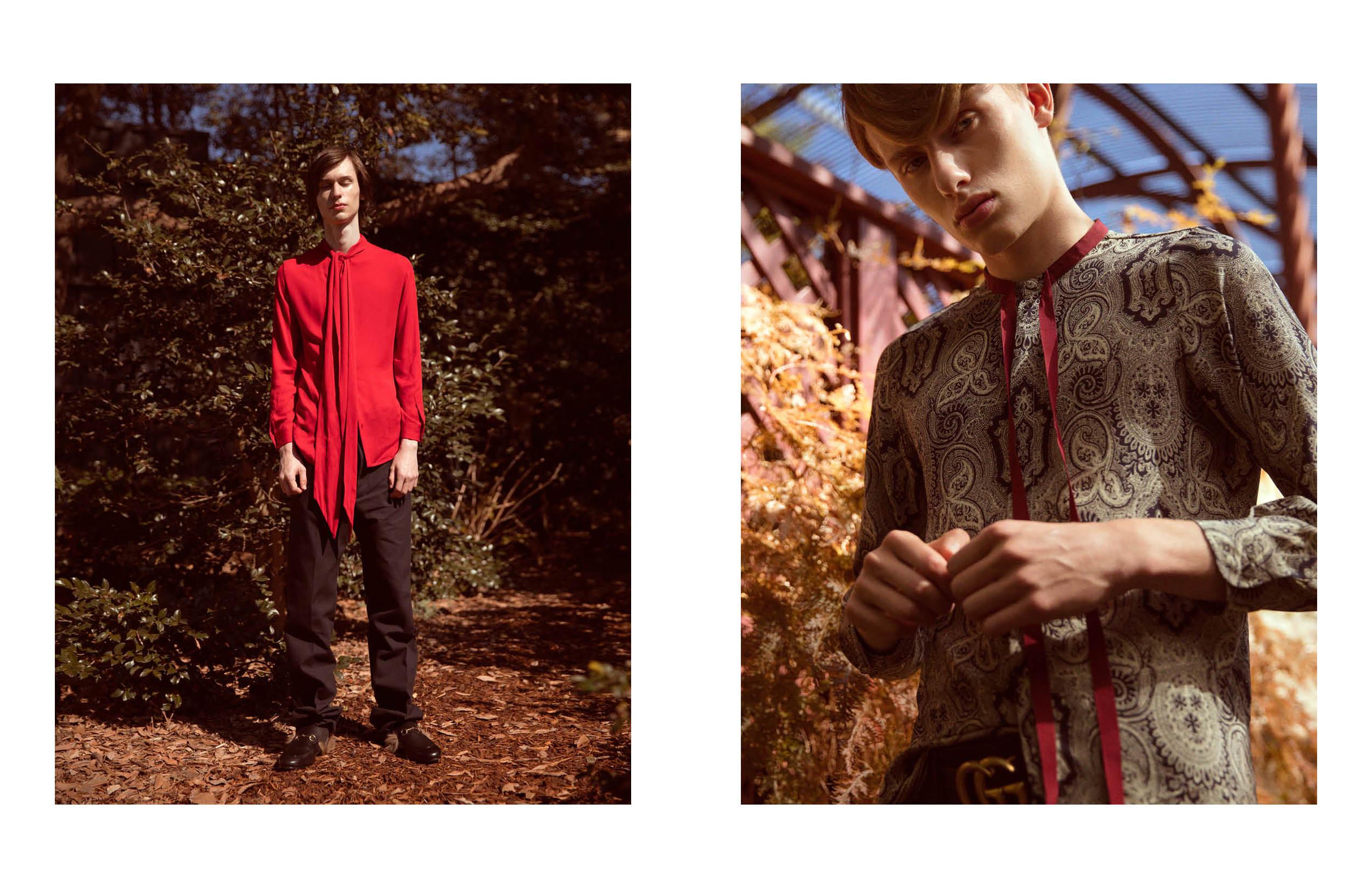 (l  eft to r  ight)Jordan wears Gucci silk shirt, Gucci wool trousers, Gucci fur moccasins   Lemmie wears Gucci floral shirt