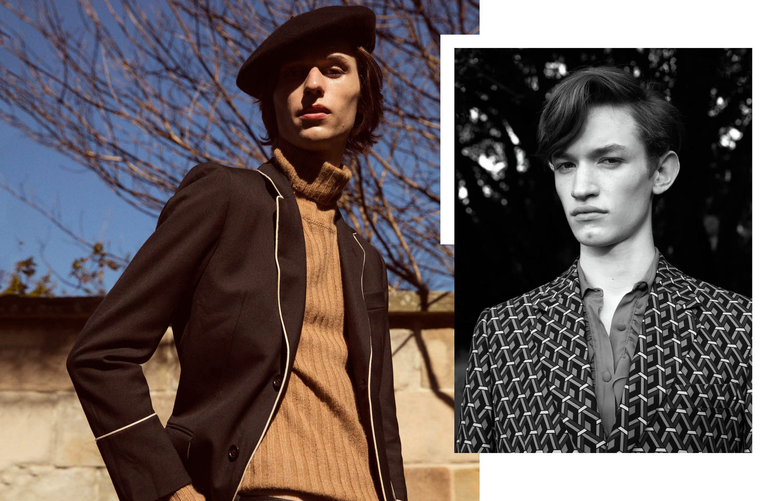 (l  eft to r  ight)Jordan wears Gucci beret, Gucci suit, Gucci knit   Rowan wears vintage blouse from a selection at Zoo Emporium