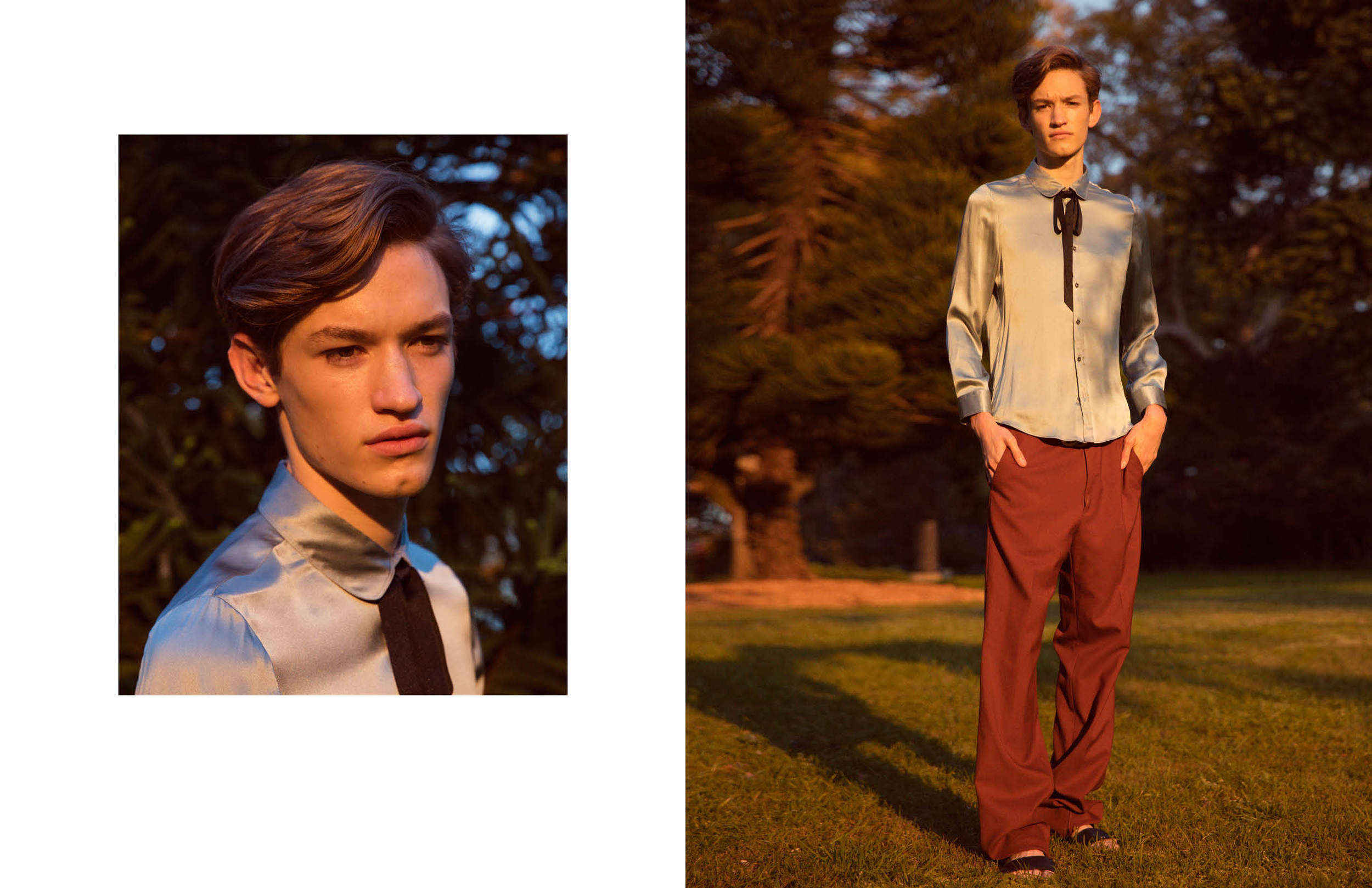 Rowan wears Gucci silk shirt, Gucci trousers, Gucci sandals