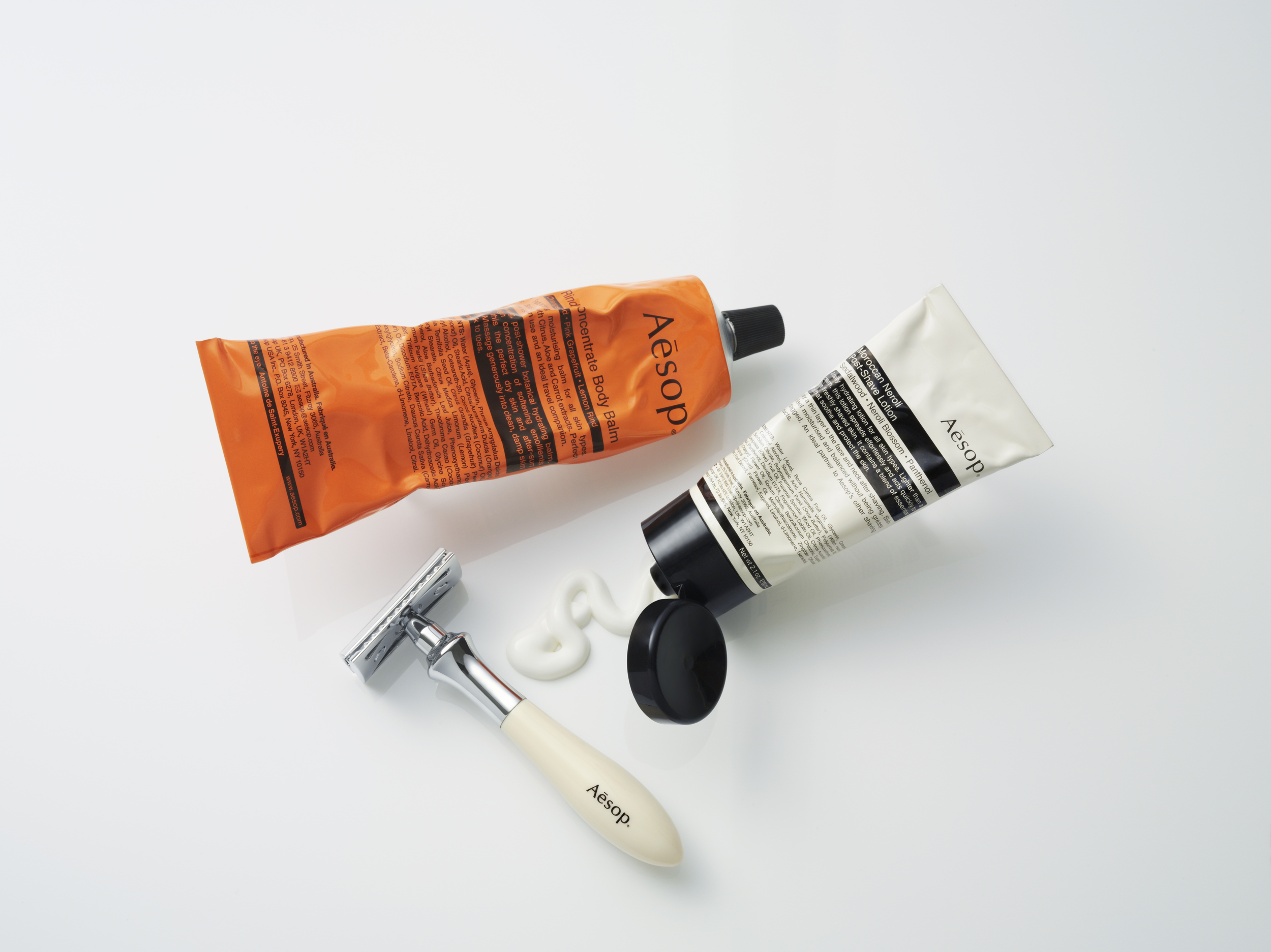 Aesop  body balm,  Aesop  shave lotion, Aseop  razor.