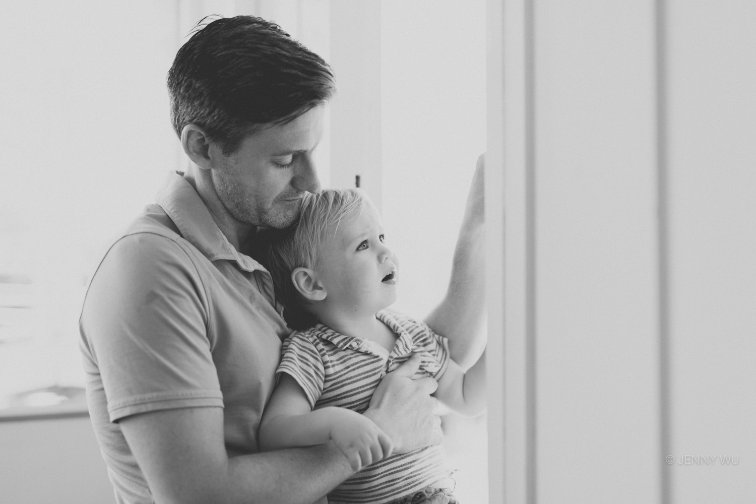 Black and white natural light portrait baby and family