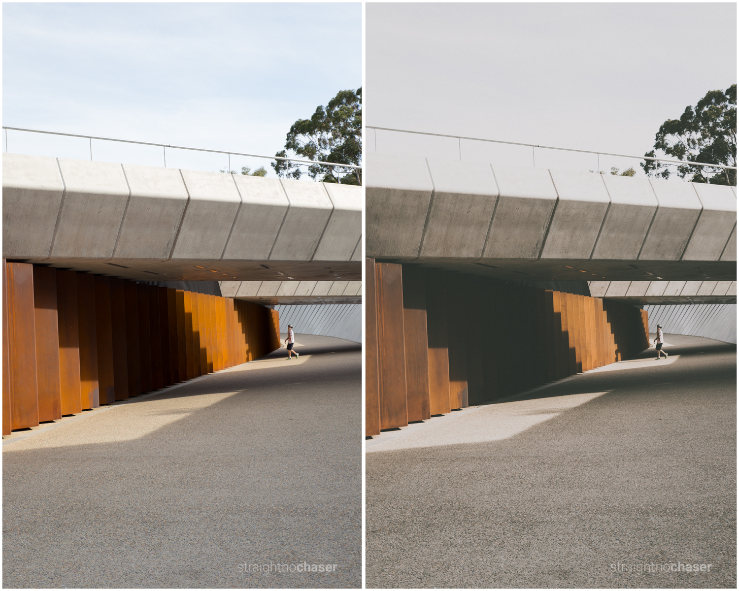 Canberra. Unedited RAW   (left) M/Mellow Preset (right)