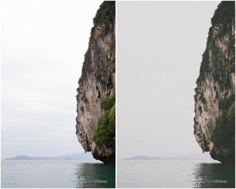 Islands in Krabi. Unedited RAW (left) M/Mellow + Preset (right)