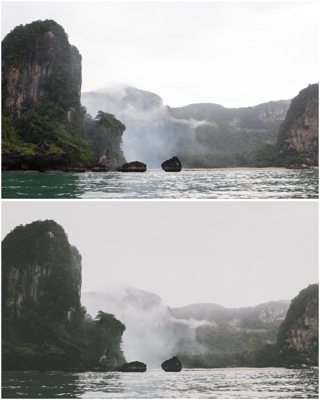 Islands in Krabi. Unedited RAW   (top) M/Mellow Preset (bottom)