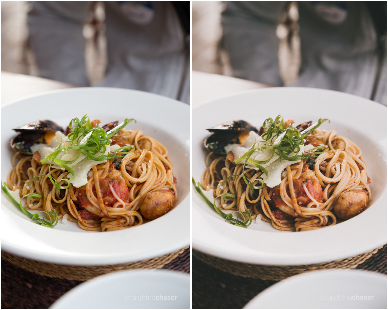 Food photography.Unedited RAW   (left) M/Mellow- Preset (right)