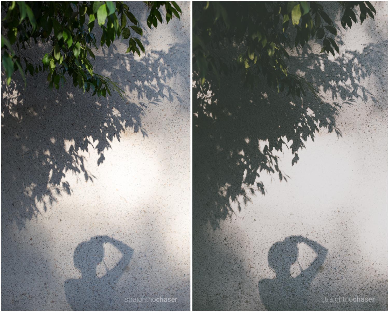 Unedited RAW (left) M/Mellow + Preset (right)