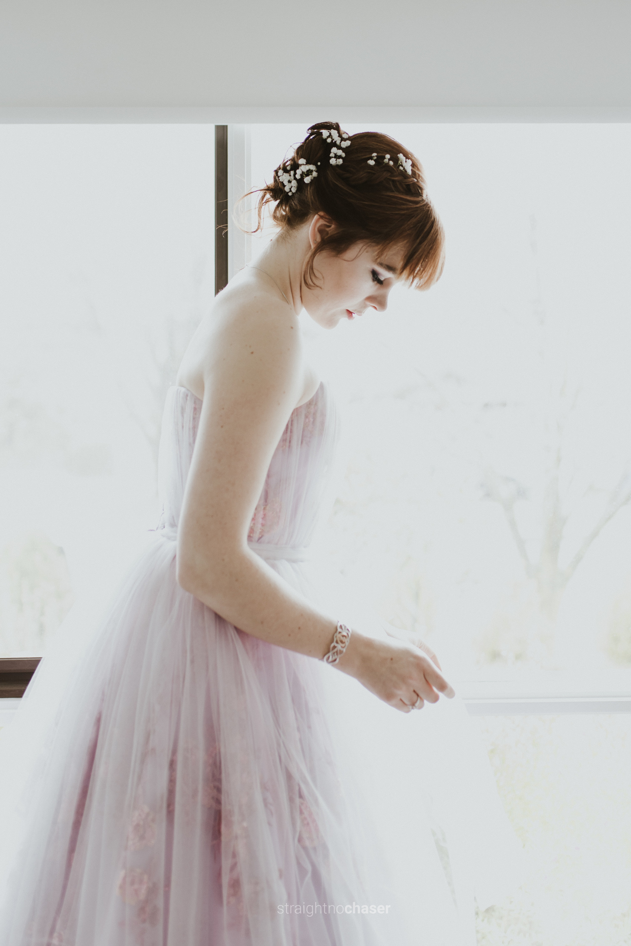 Bride unconventional mauve tulle wedding dress - getting ready- Straight No Chaser Photography