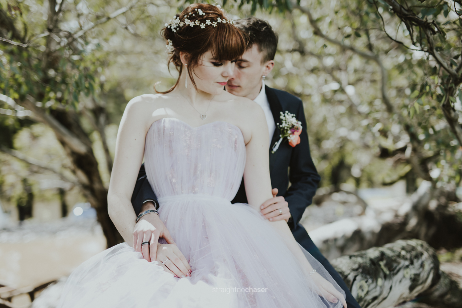 Bridal and groom portraits infront of old tree -  Straight No Chaser Photography