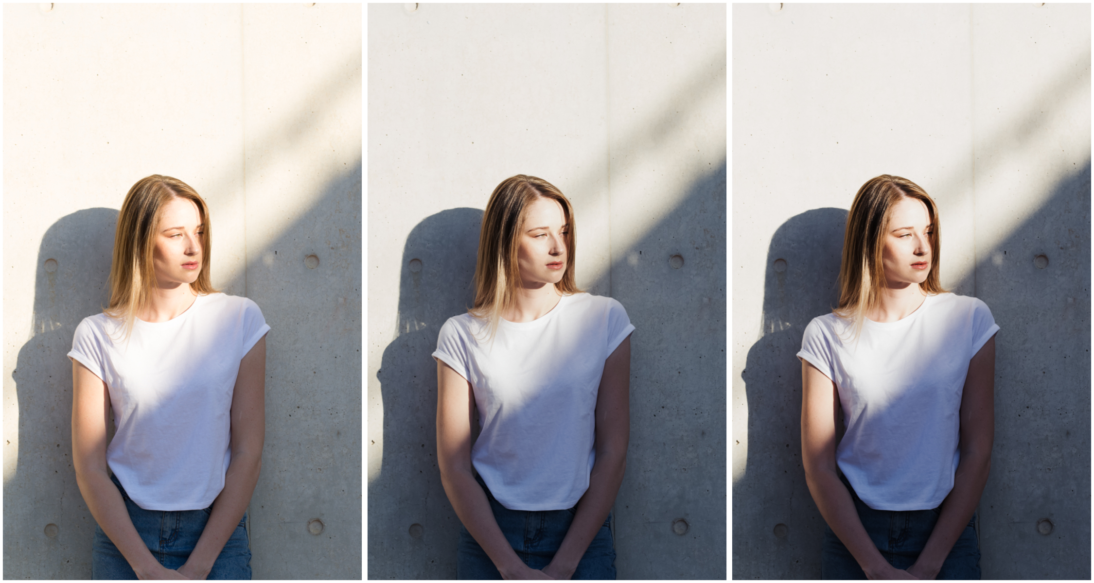RAW (left), A6- (middle), A6 (right)