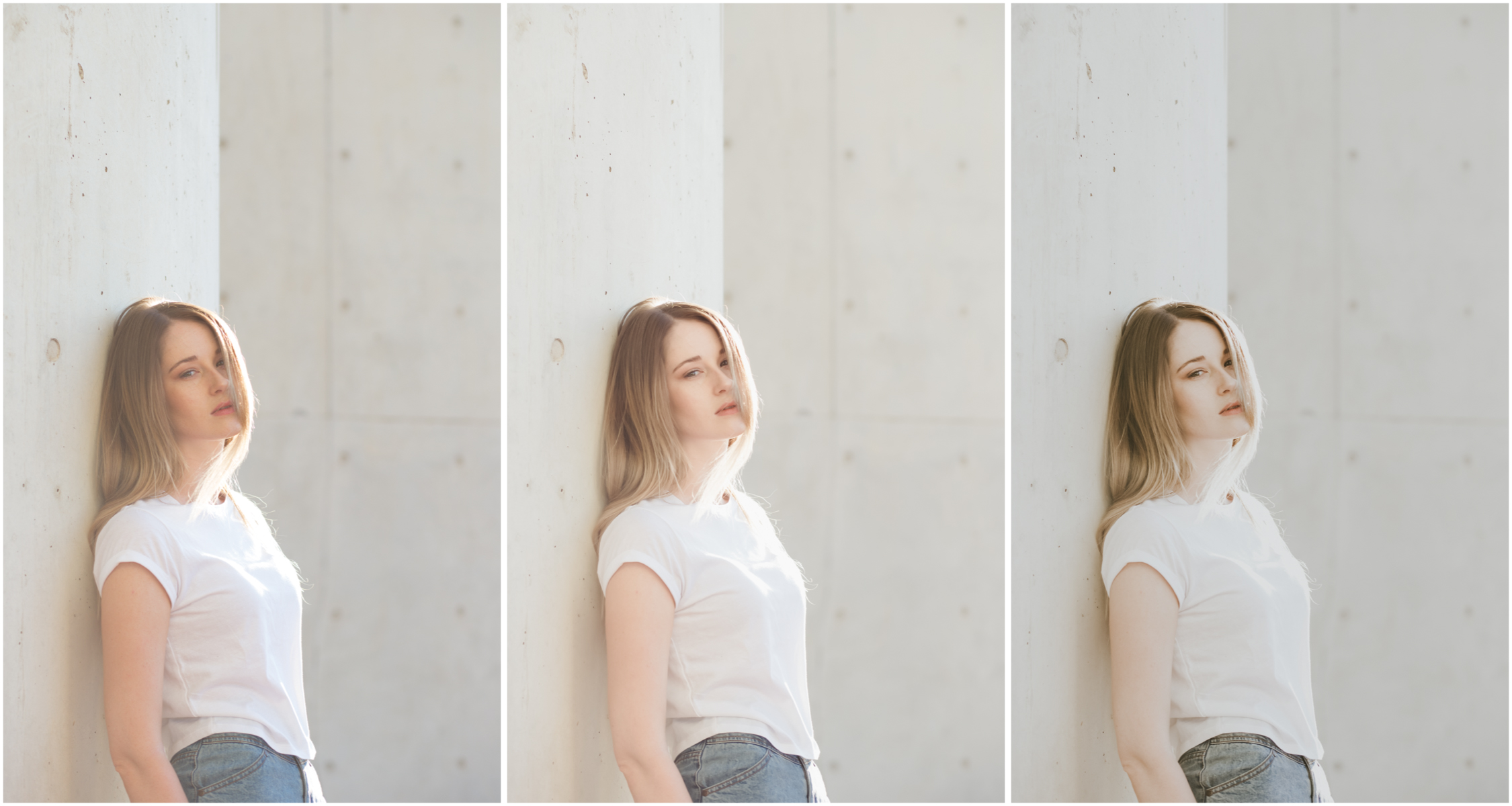 RAW (left), A6 Lightroom preset (middle), A6 with contrast, colour,and clarity tweaks