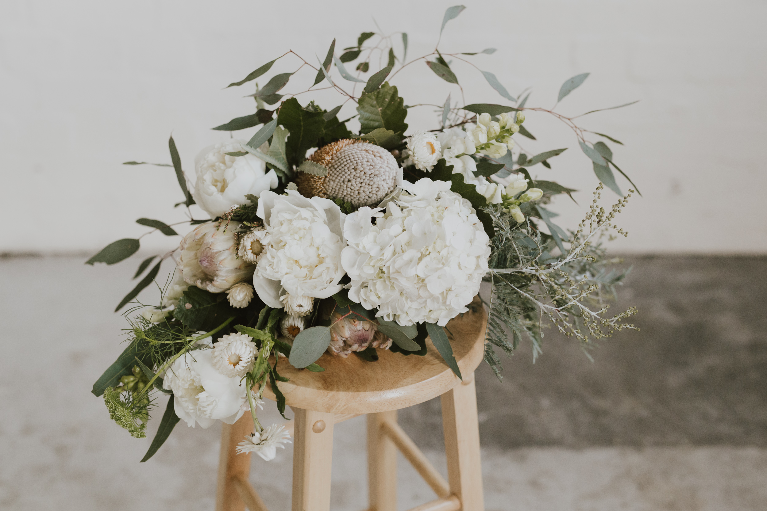 Bridal bouquet white and green natives Canberra Wedding Editorial