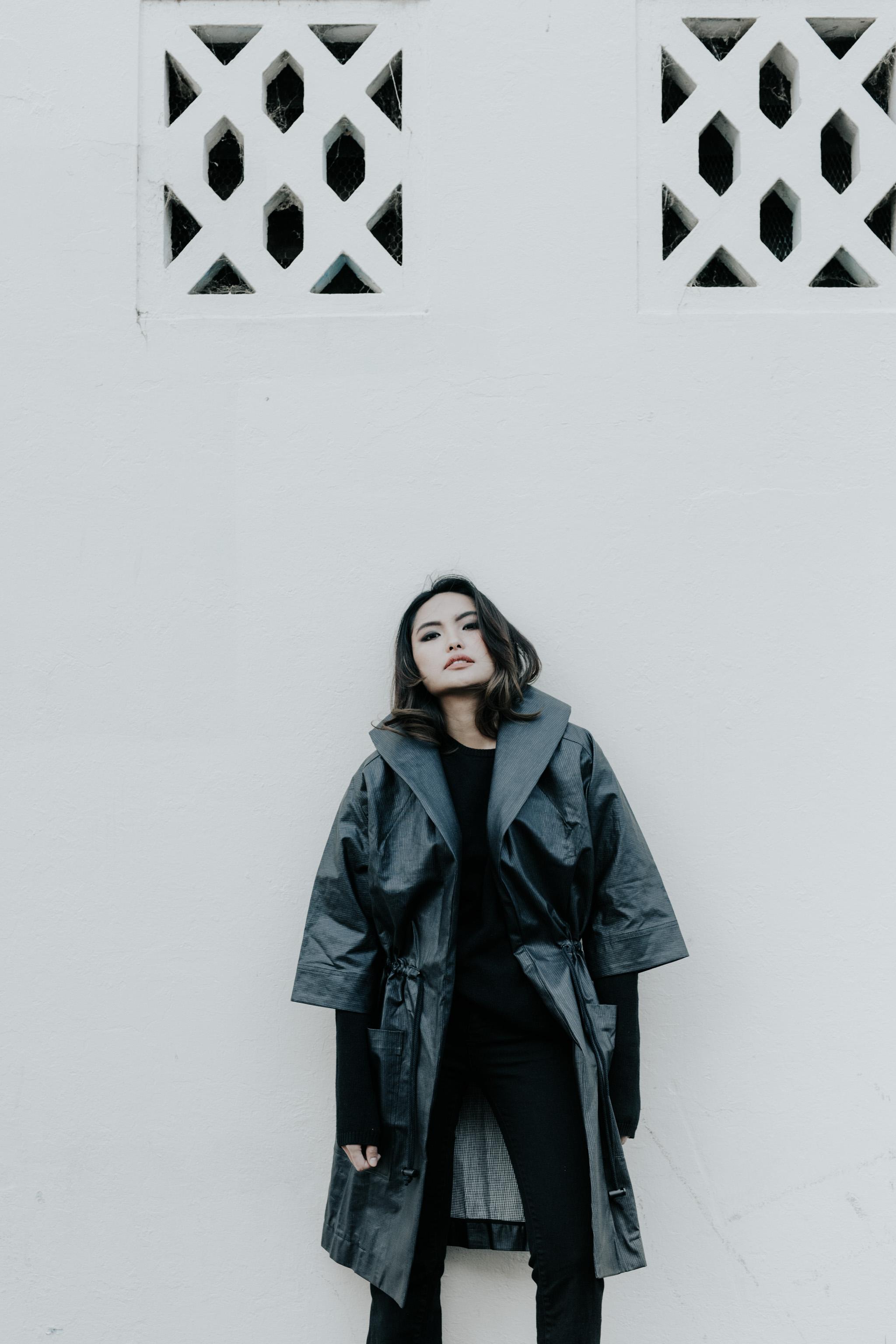 Downtown Sundays Editorial shot by Jenny Wu Straight No Chaser Photography Gem wears black Hunter raincoat