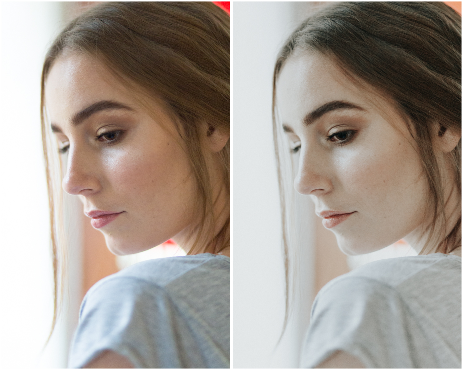Backlit portrait. Before (left), and with Film Luxe 2 preset applied (right)