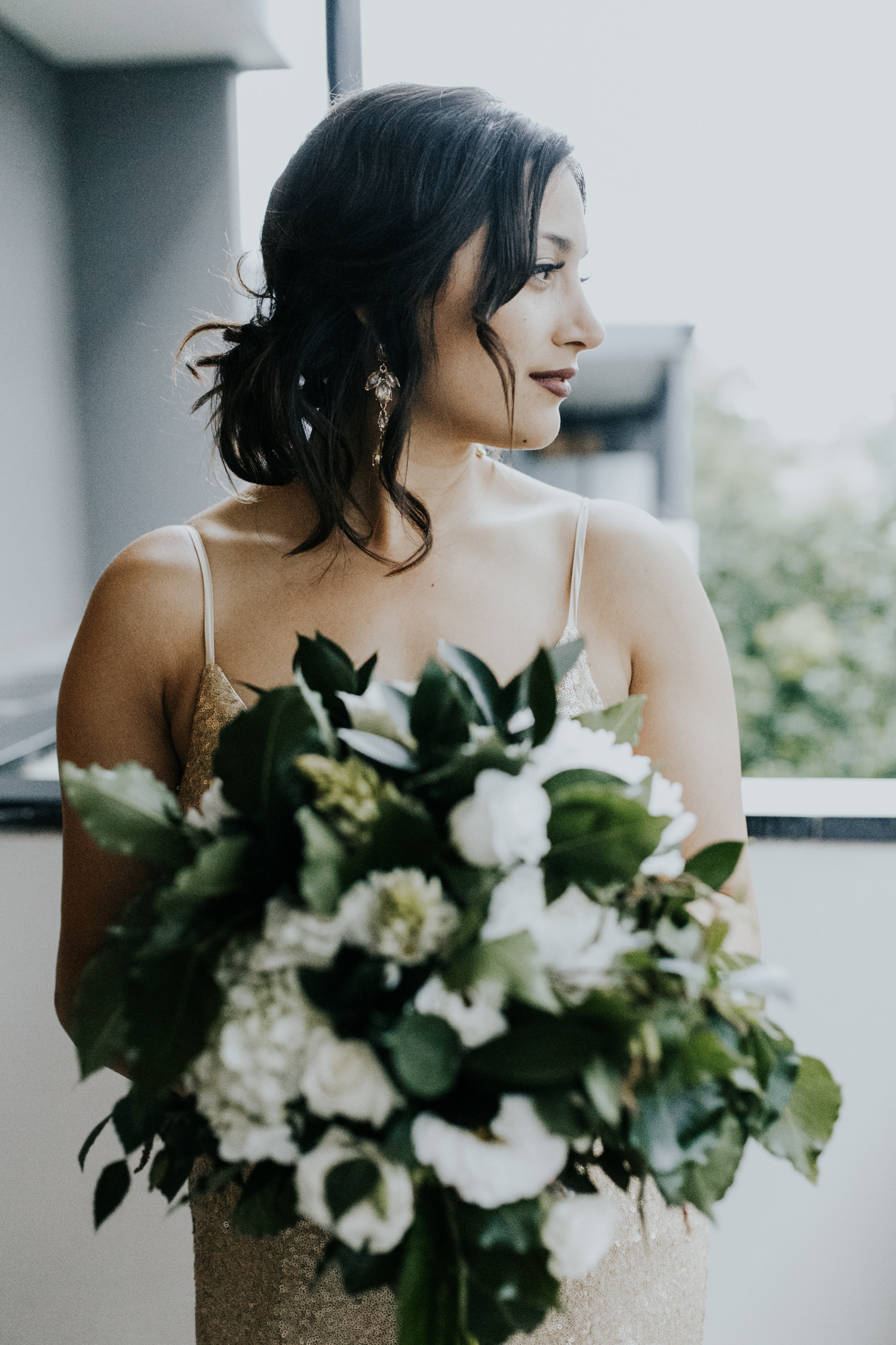 White and green foliage bouquet- Intimate hotel room wedding Canberra - photography by Jenny Wu