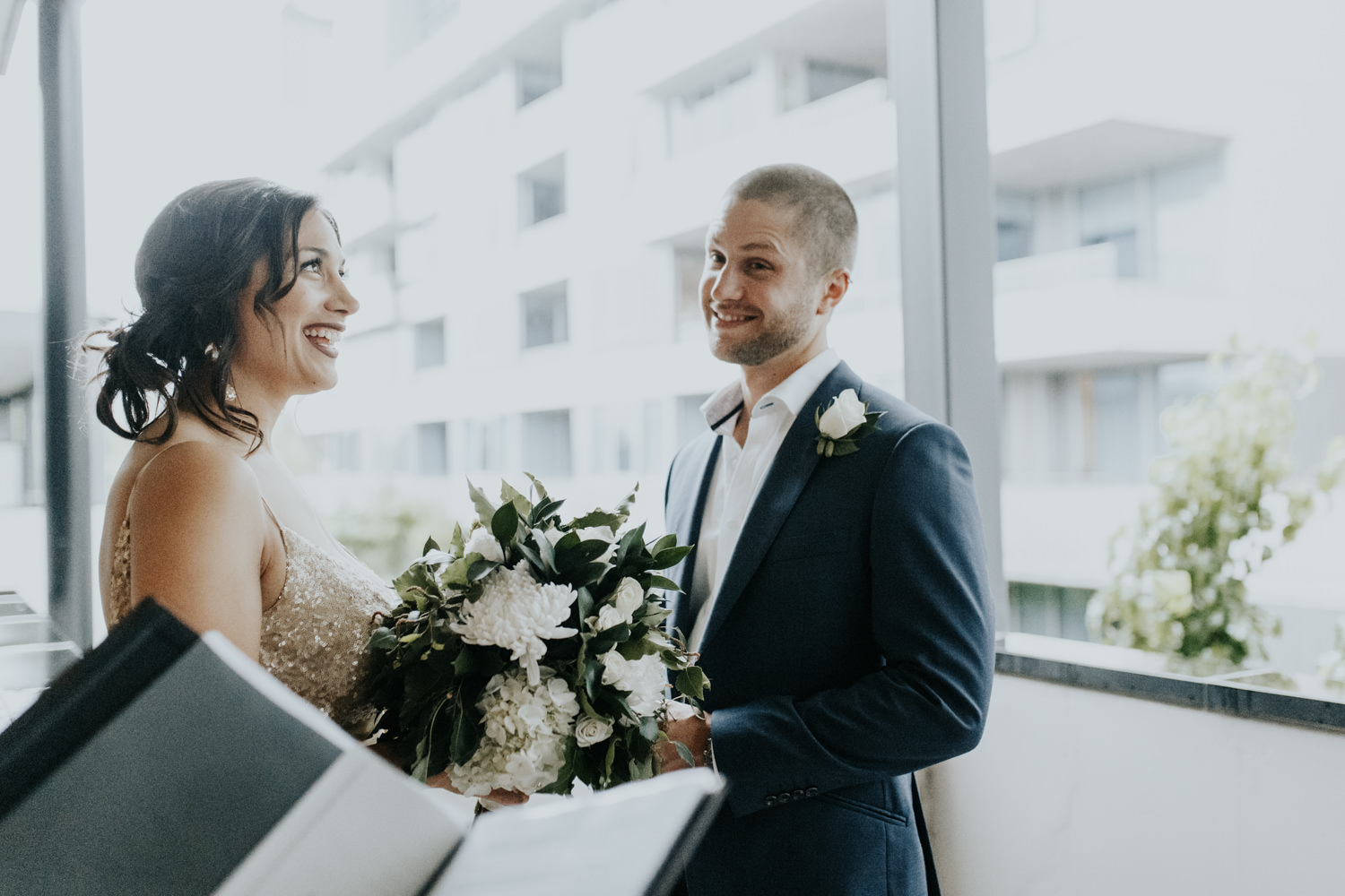 Intimate hotel balcony wedding Barton Canberra  photography by Jenny Wu