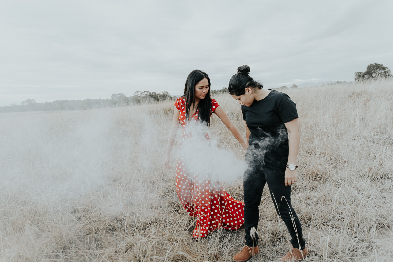 Creative sunset smoke bomb engagement session- Canberra wedding photographer Jenny Wu Straight No Chaser Photography