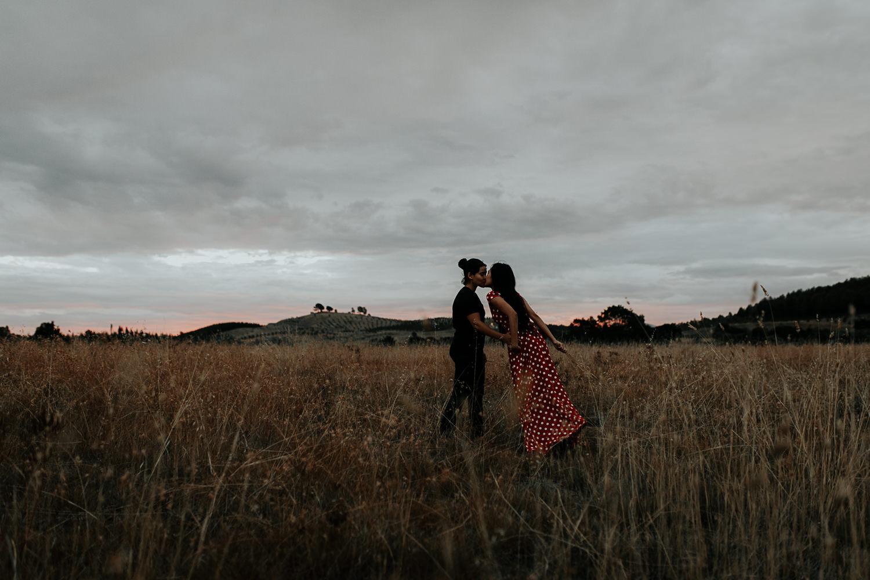 Intimate natural light engagement- boho Sunset shoot- Canberra wedding and fashion photographer Jenny Wu Straight No Chaser Photography