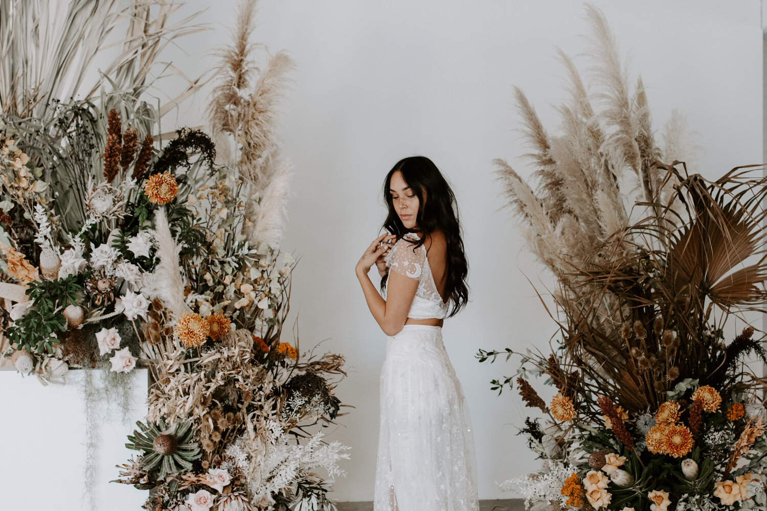 Boho bridal styled shoot ceremony inspiration Jenny Wu Photography Canberra
