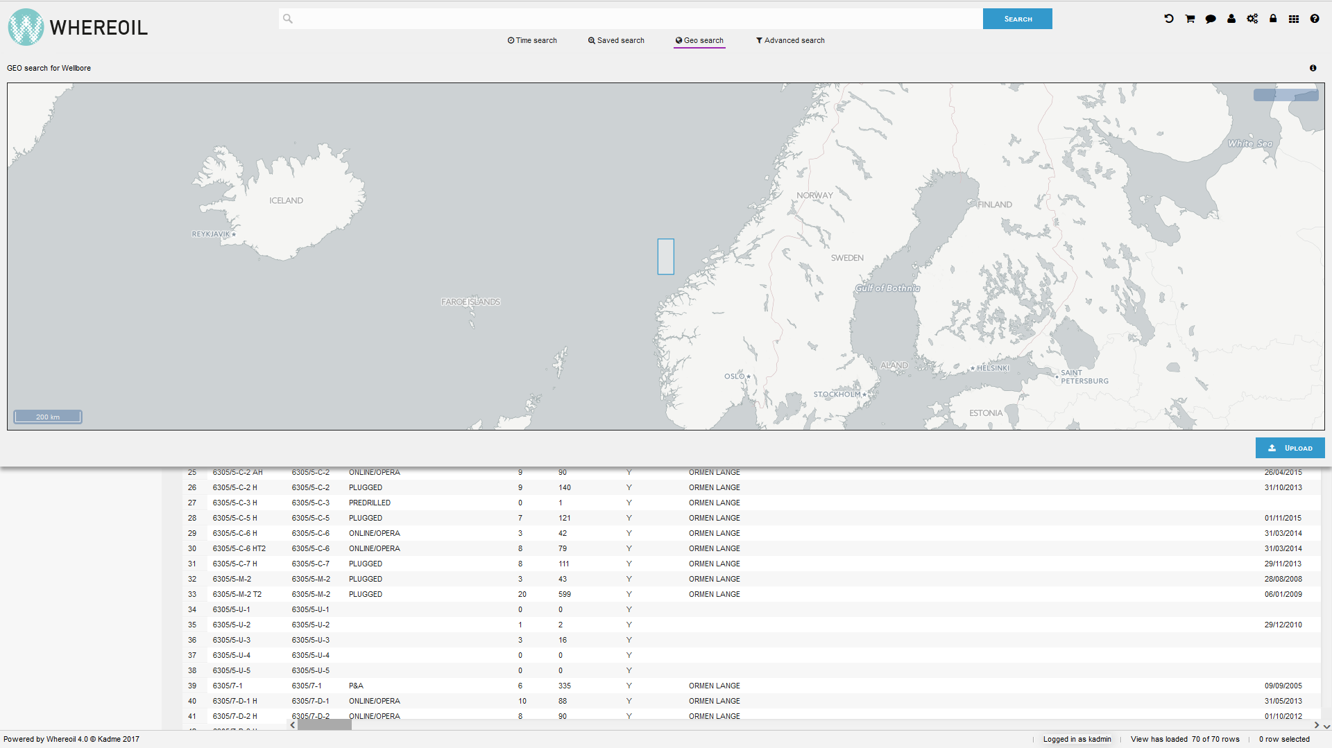 Whereoil's geosearch functionality makes it possible to search data in areas of interest and create a data collection.