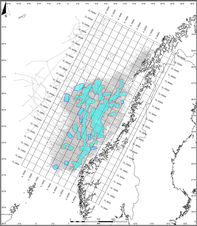 Norwegian Sea - SEISMIC DATA INPUT• 121 3D volumes - Total area: 86,689 km²• 99 2D surveys - 2,990 2D lines - 230,000 km/lSEISMIC OUPUT SIZE1.83 TB .SEGY1.11 TB PETREL2.09 TB .DUGIOWELLS DATASET362 exploration wellbores• 306 HQDL (.las)• 214 CPI (IP) (.las)• 336 tops (NPD) (.txt)• 241 checkshots (.txt)