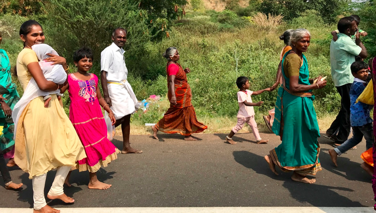 People on a pilgrimage to one of the many temples in the state of Tamil Nadu.