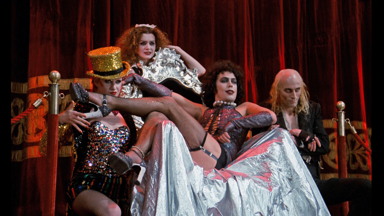 Columbia, Magenta, Dr Frank N Furter and Riff Raff, in the 1975 movie adaptation.