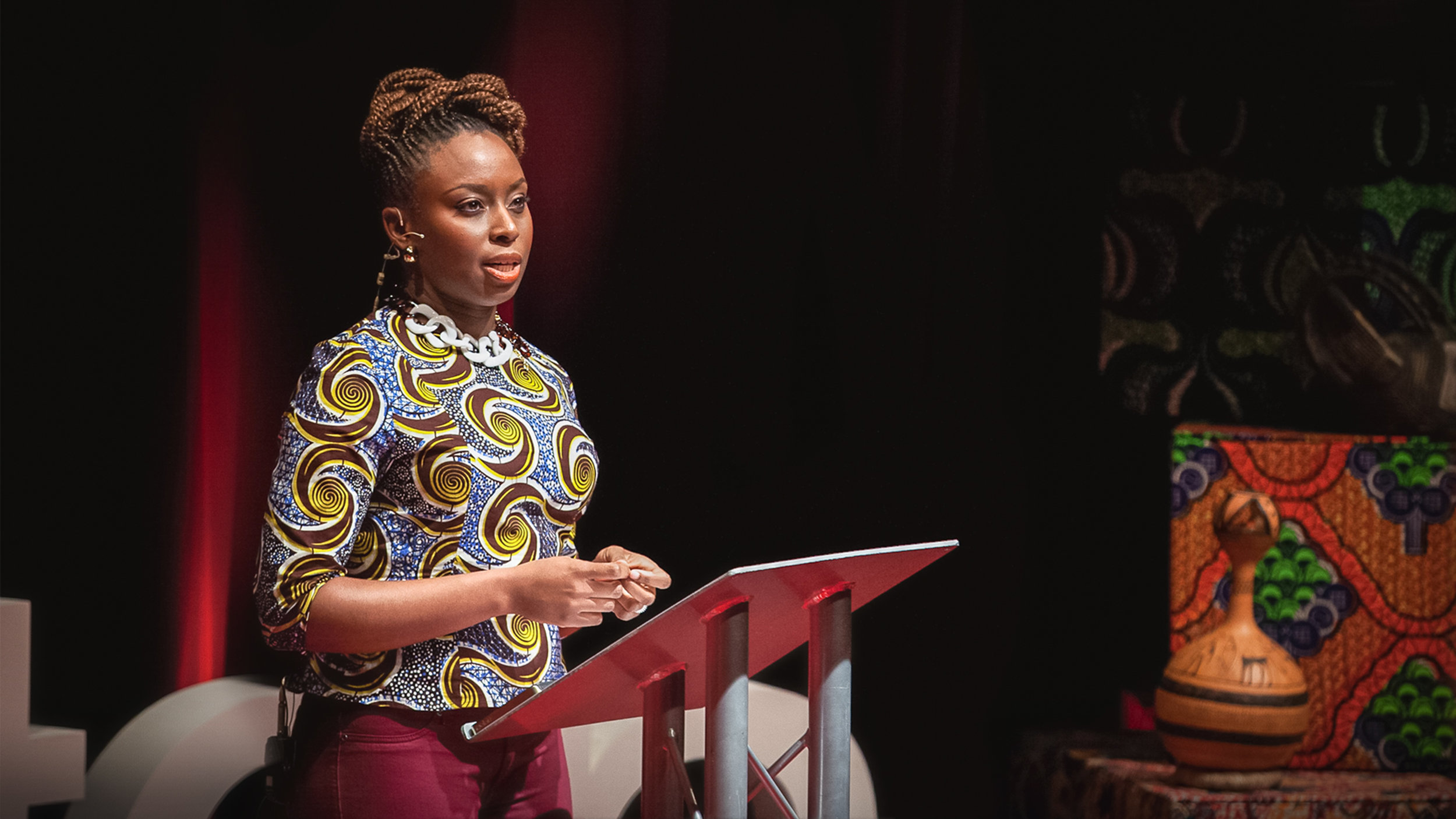 """Chimamanda Ngozi Adichie speaking at her """"We Should All Be Feminists"""" TED Talk in 2012"""