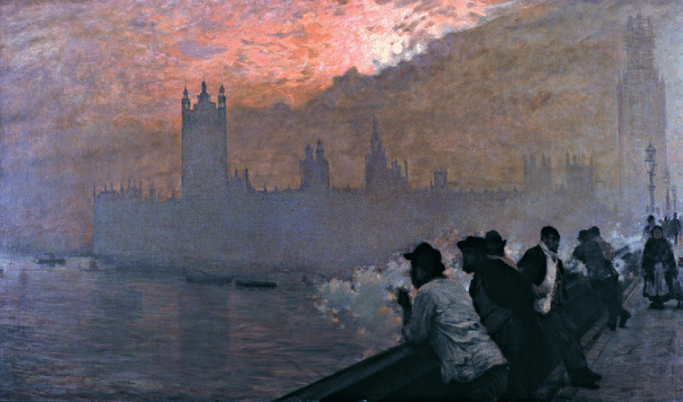 Fig. 2. Giuseppe De Nittis,  Westminster . 1878. Oil on canvas, 110 × 192cm. Private collection.