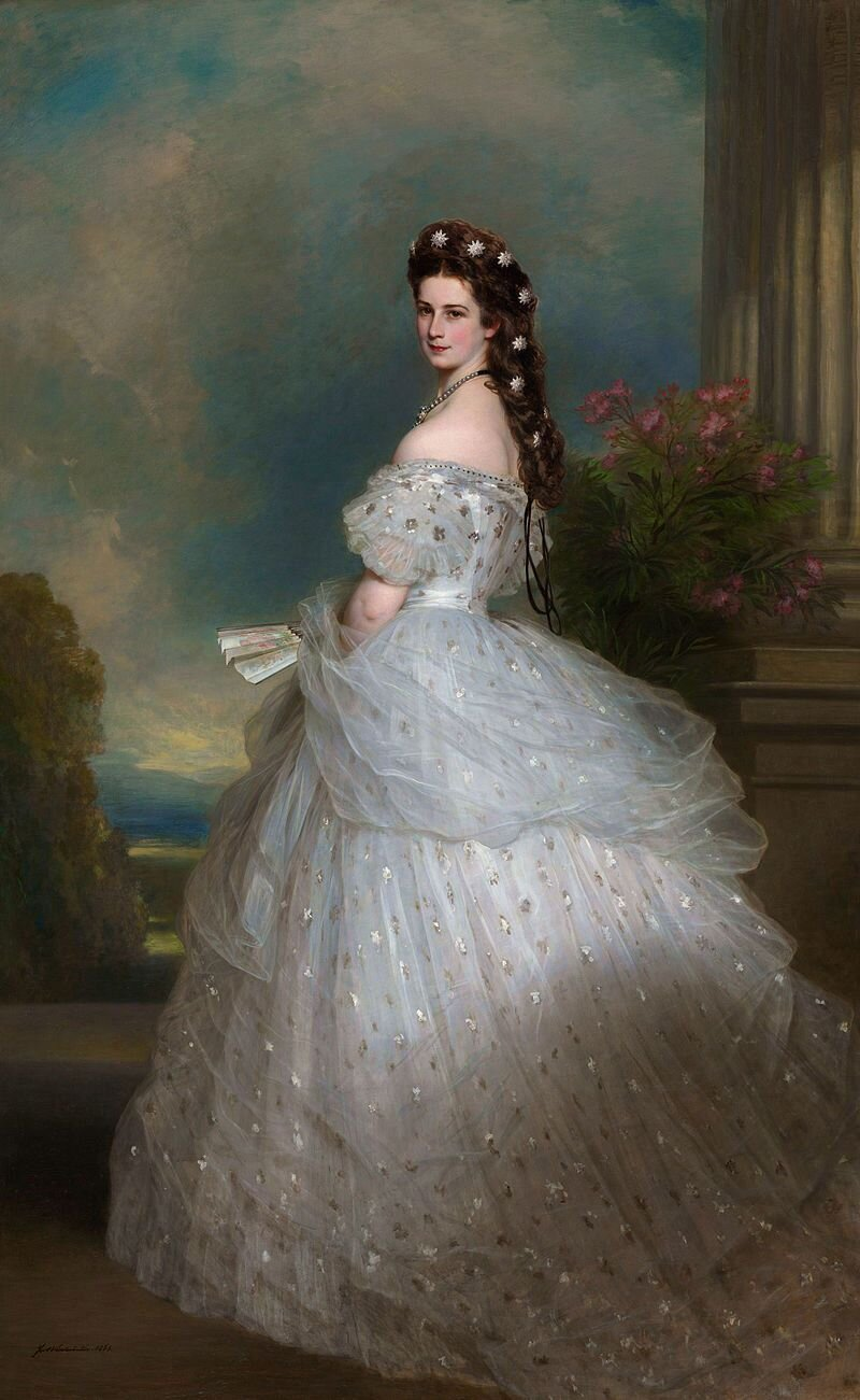 Fig. 3. Franz Xaver Winterhalter (German, 1805–1873). Empress Elisabeth of Austria in a Worth gown, 1865. Oil on canvas; 255 x 133 cm. Vienna: The Hofburg.