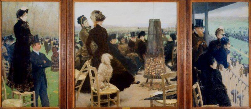 Fig. 4. Giuseppe De Nittis,  Race at the Bois de Boulogne , triptyque, 1881. Pastel of canvas; 196 x 106 cm. Galleria Nazionale D'Arte Moderna, Rome.