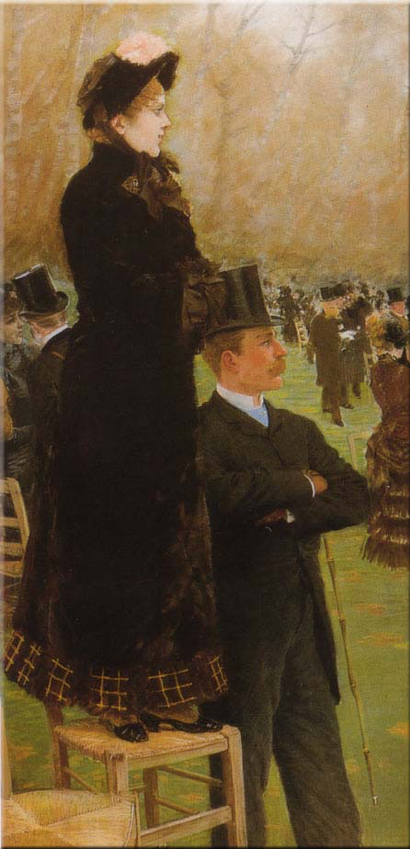 Fig. 1. Giuseppe De Nittis,  In the Grandstands , left panel of  Race at the Bois de Boulogne , 1881. Pastel of canvas; 196 x 106 cm. Galleria Nazionale D'Arte Moderna, Rome.