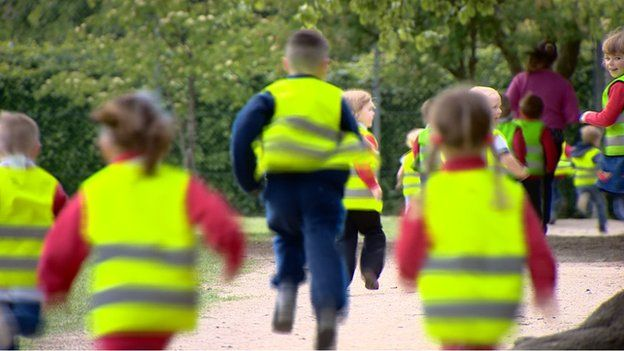 St. Ninian's Primary School students walk and run around a mile-long pathway near the school. Courtesy: BBC