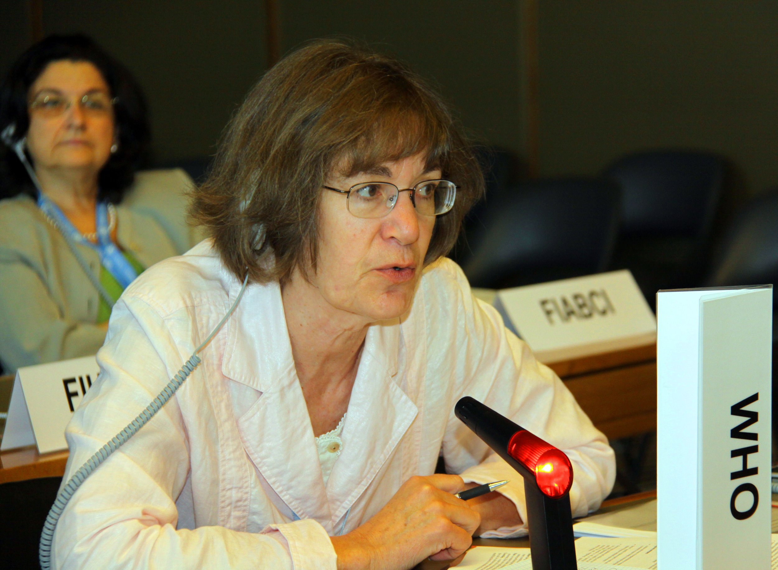 Dr. Ruth Etzel in her previous position as a senior officer for environmental health research at the World Health Organization.  courtesy: IISD Reporting Services