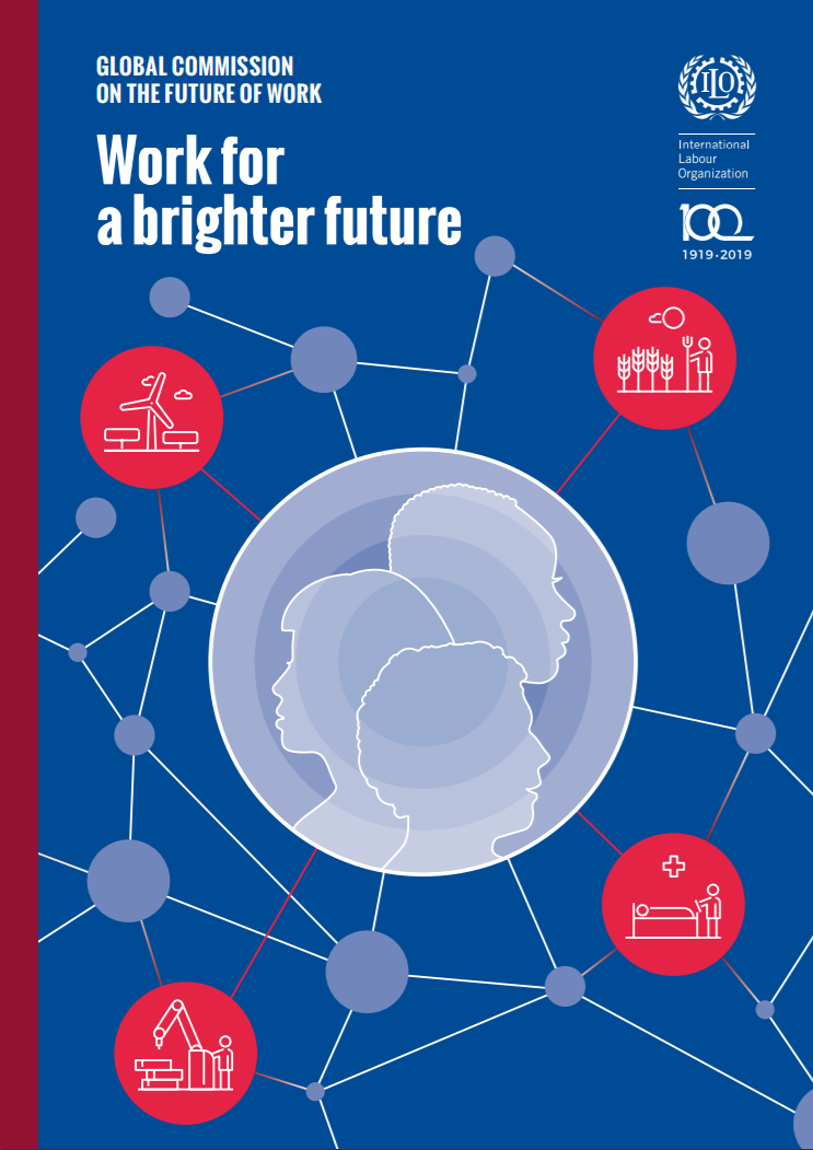 Cover art on the  Work for a Brighter Future  report.