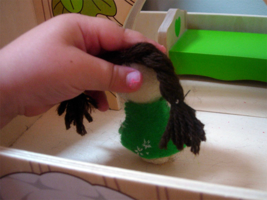 Felt doll from Easter, now with hair!