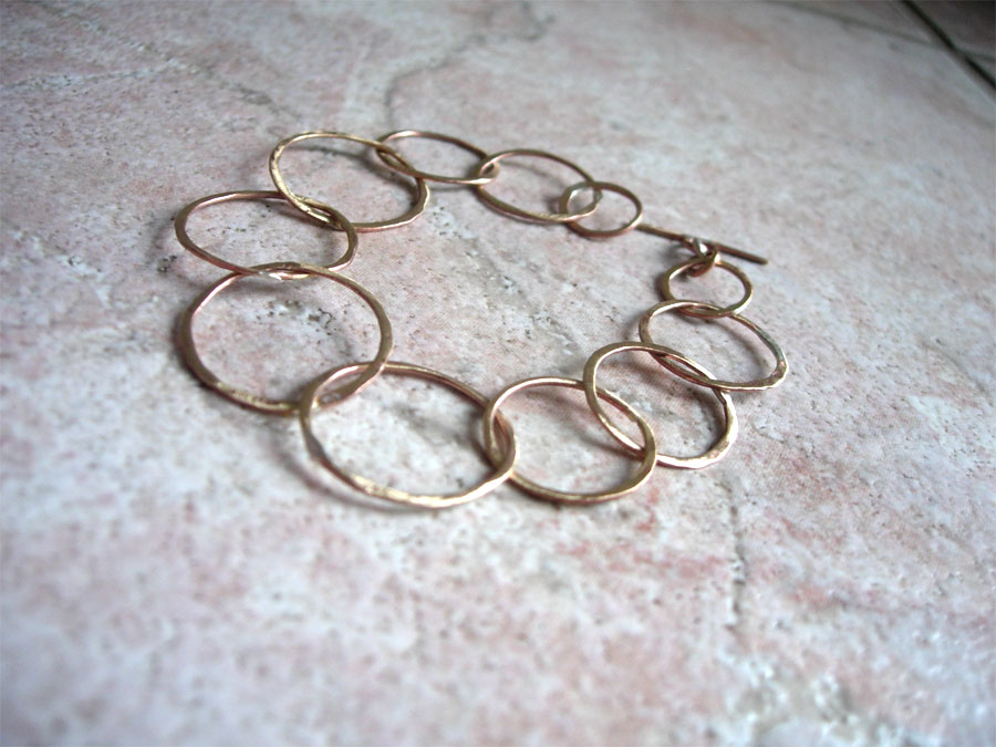 Jewelry & Metalsmithing class at Heartwood, day 2: soldered ring bracelet. SO wonky!