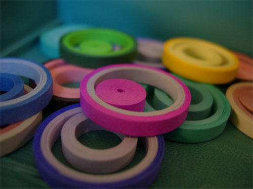 From the archives: Simple quilled paper pendants. August 2008